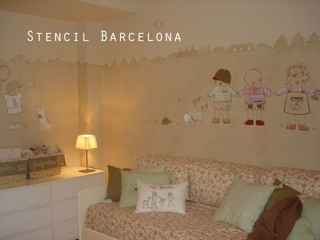 Habitaciones infantiles decoradas con pintura de stencil - Stencil barcelona ...