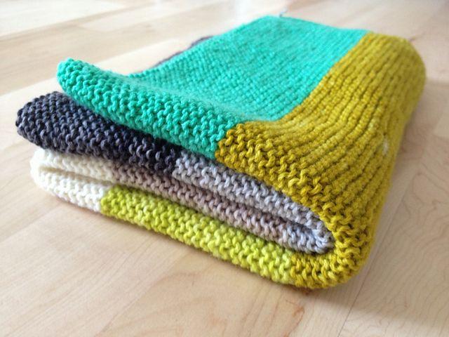 Garter stripe baby blanket knit by Lauren Mayhew.  Koigu Kersti Merino Crepe yarn | Purl Bee pattern