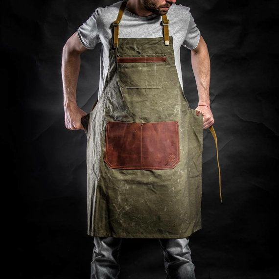 Canvas cross back apron with leather pockets and by KrukGarage