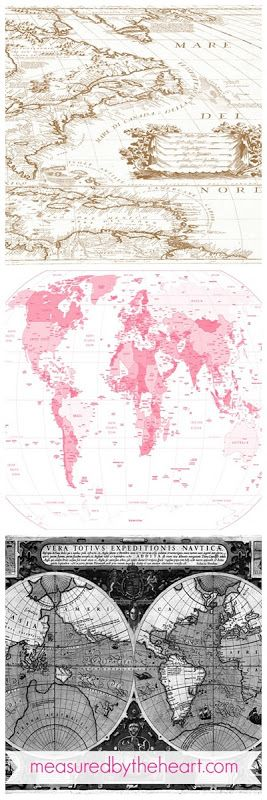 "Free Map Downloads for Home Decor & Craft Projects! Love the pink map for our nursery... ""Oh the places she will go!!!"""
