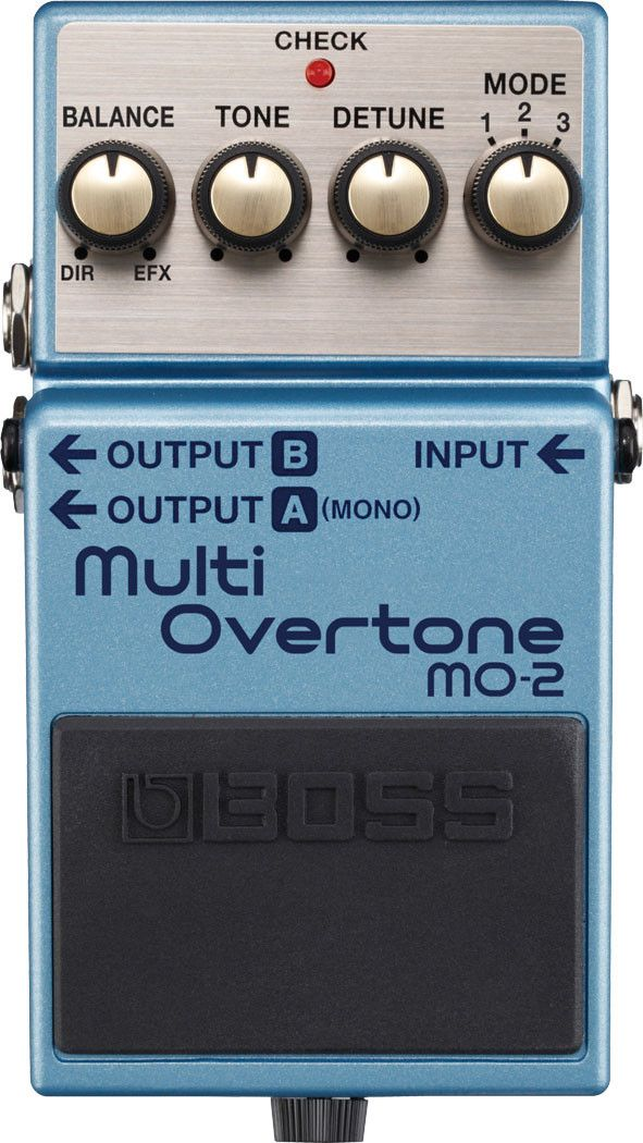 BOSS MO-2 Multi-Overtone pedal Create brand new sounds with the BOSS MO-2 Multi-Overtone! Using Multi-Dimensional Processing technology (MDP), the MO-2 takes your guitar's harmonic character and sculp