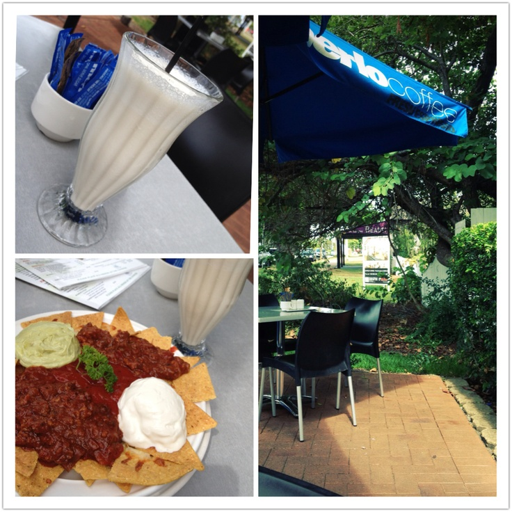 The best nachos and milkshake ever! Cafe Arabica, Cleveland, QLD. Approx $13AUD for the nachos
