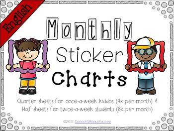 Free! Monthly Sticker Charts for Easy Measurement of Speech Attendance