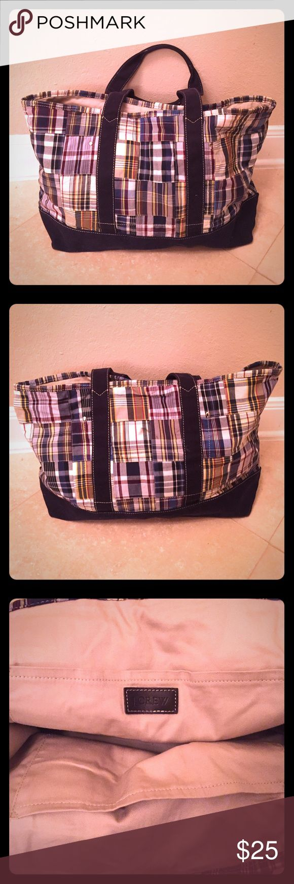 J Crew Tote Bag Casual J. Crew Tote Bag.  Multicolor plaid with navy blue bottom and straps. j crew Bags Totes