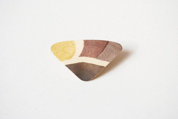 Vintage colorful wood brooch wood pin abstract by SoulSisters16