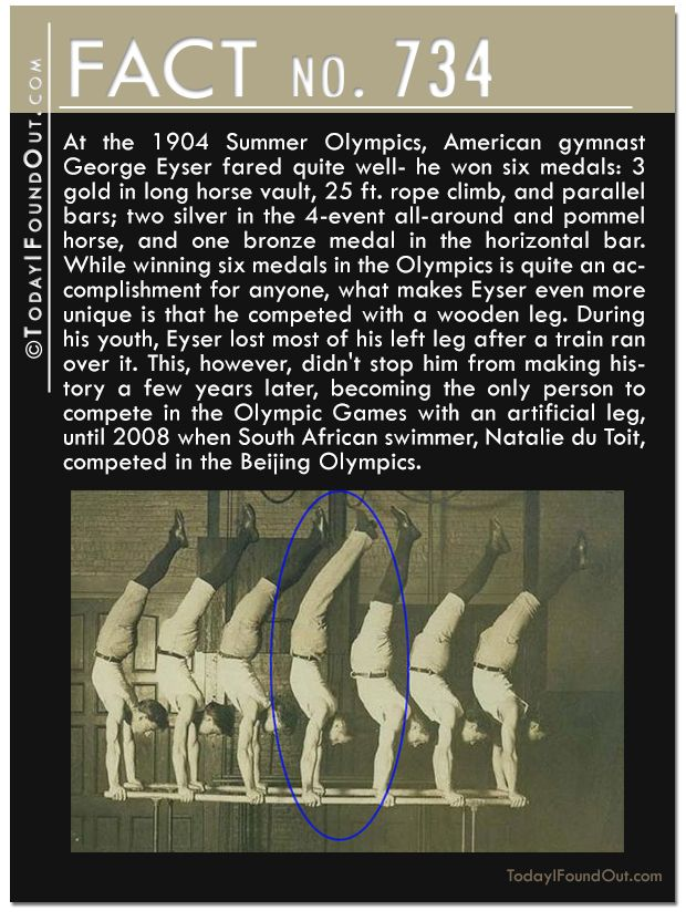 At the 1904 Summer Olympics, American gymnast George Eyser won six medals: 3 gold; two silver, and one bronze. What makes Eyser even more unique is that he competed with a wooden leg. During his youth, Eyser lost most of his left leg after a train ran over it. This didn't stop him from making history a few years later, becoming the only person to compete in the Olympic Games with an artificial leg, until 2008 when South African swimmer, Natalie du Toit, competed in the Beijing Olympics.