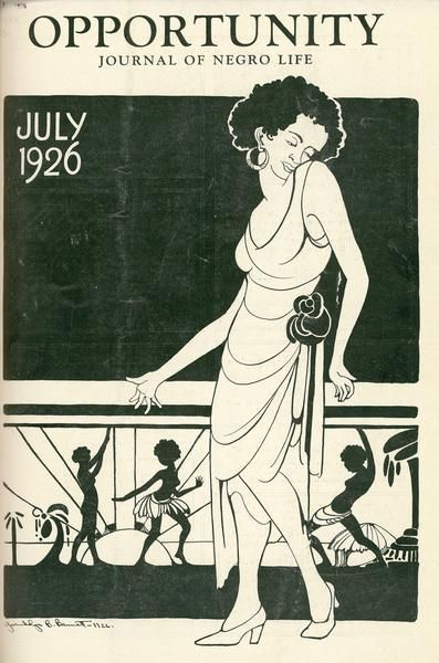 Opportunity, A Journal of Negro Life published by the National Urban League from 1923 to 1949. The first editor was Charles Johnson. In addition to essays on sociological issues, Opportunity had a strong emphasis on photography, art, & poetry. Early covers included artwork by Aaron Douglas, and writers included many figures from the Harlem Renaissance, including Langston Hughes, Countee Cullen, & Zora Neale Hurston.
