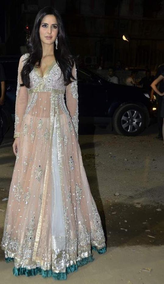 Katrina's flattering dress with velvet, sequins and net. Designed by Manish Malhotra
