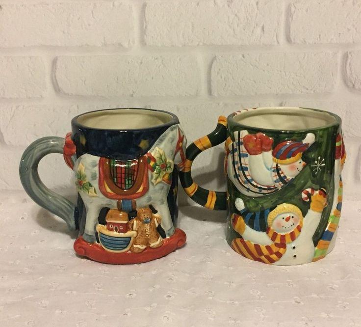 Christmas Susan Winget 3D Rocking Chair Snowman Oversized Coffee Mugs Set of 2  #CertifiedInternational