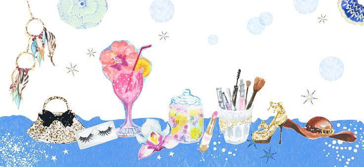 #広告 #花 #flower #デザイン #お洒落 #可愛い  #illustration #kanakobayashi #art #illust #パッケージ #pattern #柄 #模様 #cosme #コスメ #summer #blue