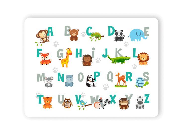 Platzdeckchen - Tischset Platzset ABC Tiere abwaschbar - ein Designerstück von LEVARDESIGN bei DaWanda