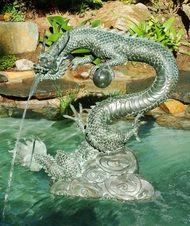 Bronze Garden Chinese Water Dragon Fountain Small $539