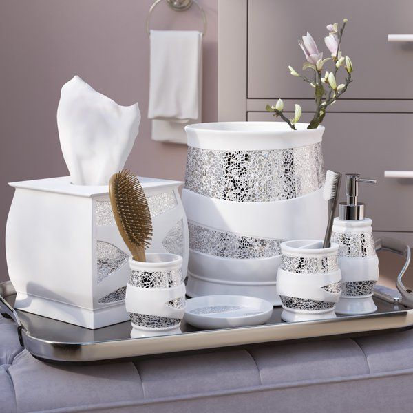Irie 6 Piece White Silver Bathroom Accessory Set Silver Bathroom Accessories Silver Bathroom Bathroom Accessories Sets