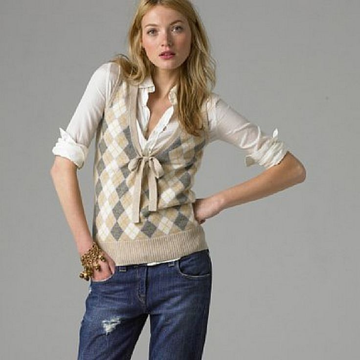 Favorite casual outfit-- jeans, flats, argyle sweater over a button up.