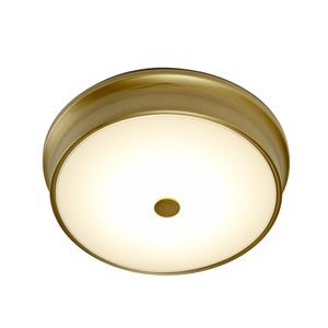 For more classic and transitional interiors that have need of good general light for kitchens, bathrooms, hallways, low ceiling entryways and closets, the Abbey LED ceiling flush mount boasts a warm aged brass finish and bungalow styling. Never worry about changing bulbs: the built-in LEDs last 50,000 hours - that's 27 years of normal use - and use only 10% of the energy of standard incandescent bulbs.