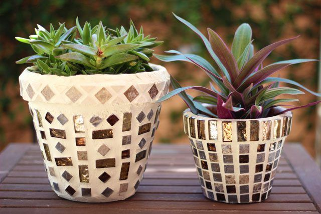 As intricate as mosaic pots look, they are surprisingly easy to make. Starting with a clay pot as a foundation, you glue on tiles in any configuration your imagination takes you and then seal them in place with grout. Begin with basic patterns, and as you gain confidence, experiment with more elaborate designs.