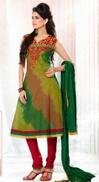 Mesmerizing Aloe Vera Green, Emerald Green & Sandy Brown Salwar Kameez