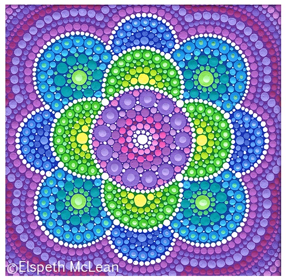 base de color en cada parte puntillismo, point to point, dot art