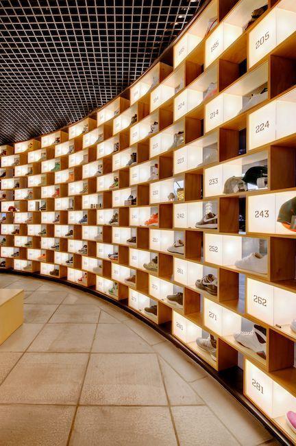 curved display wall...sneakerology, sydney australia
