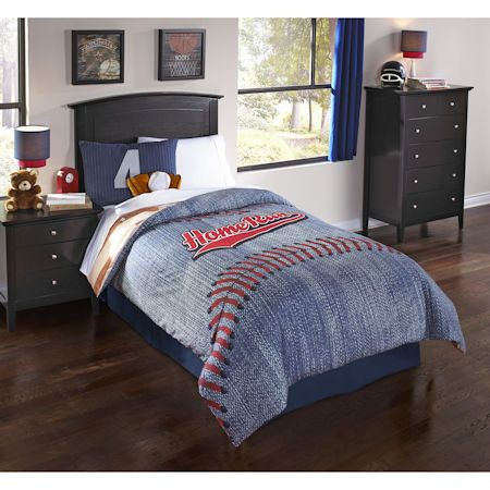 Blue Red Baseball Boys Bedding Twin Full Queen Sports Comforter Set 2 Pillows