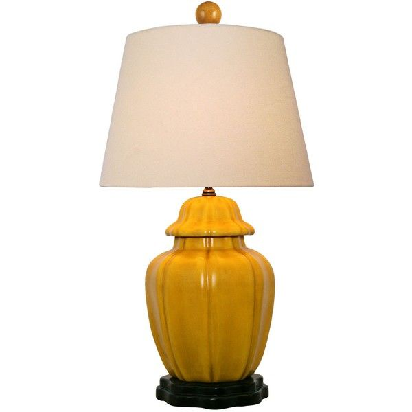Mustard Yellow With Beige Empire Shade Porcelain Table Lamp ($215) ❤ Liked  On Polyvore