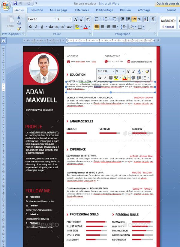 "Job Profile Resume Resume"" is the super clean, modern and professional resume cv template to help you land that great job. The flexible page designs are easy to use and customise, so you can quickly tailor-make your resume for any opportunity.. Flexible and editable design This professional resume file is in the Adobe Photoshop format and Ms Word, so you can use the software that you wish to edit the Resume with. This resume cv template is clearly organized and labeled so you can be confident in"