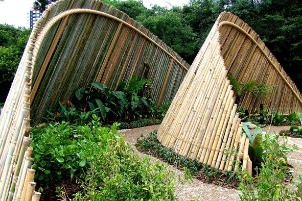 Instead of shading plants, this design could be modified to provide shade and an area to rest. Like a bamboo hobbit house with a mosquito net
