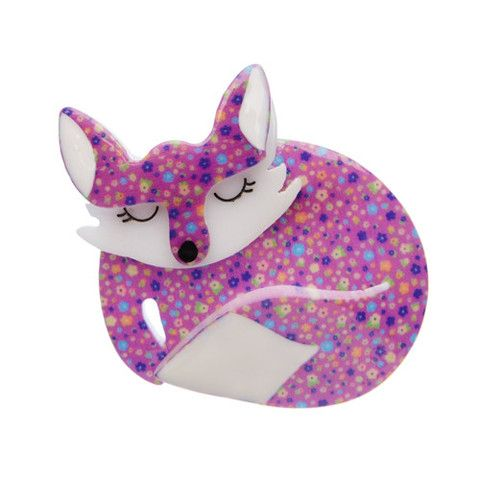 "Erstwilder Limited Edition Sacha Sleeping Fox Brooch. ""Curled into the corner of a sloping green hill lies Sacha the Sleeping fox; dozing peacefully after her evening fill."""