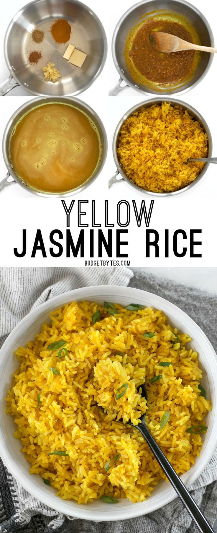 This savory Yellow Jasmine Rice combines warm and fragrant Indian spices and chicken broth to make the most flavorful rice you've ever tasted! @budgetbytes