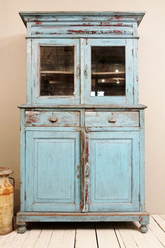 Vintage Kitchen Cabinet Storage Cupboard Armoire Indian  Blue Farm Stylish Heat Ind…