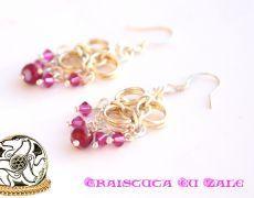 """Pink Days"" - Cercei din zale argintate și aurite, cristale Swarovski și agate striate"
