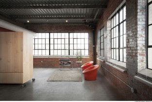 Industrial Living Room photo by Fitzsimmons Architects