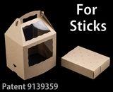"3436x3435 - 8 1/2"" x 6"" x 8"" Brown/Brown Cake Pop Box Set for Sticks, 50 COUNT"