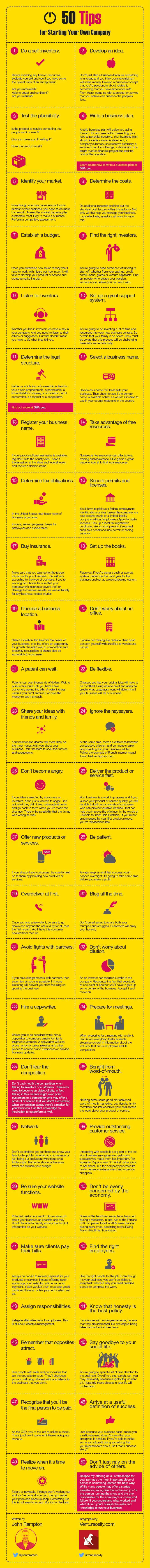 How to Start Your Own Company: 50 tips (infographic) We originally had it with this article: http://ventureosity.com/how-to-start-your-own-company-50-tips-infographic/