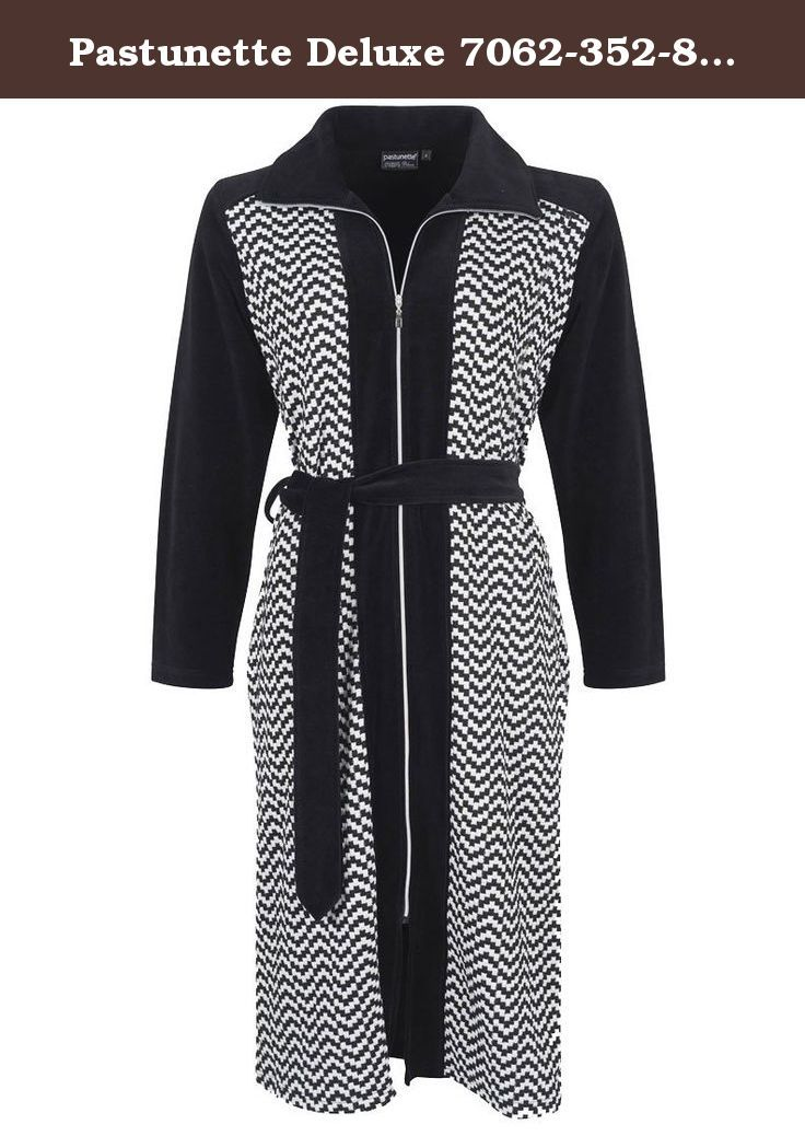 Pastunette Deluxe 7062-352-8-999 Women's Black and White Zig Zag Dressing Gown Robe 7062-352-8-999 S. Lovely zip up robe in black and white zig zag design, with contrasting black sleeves and collar. Makes a lovely bedtime look. Buy now.