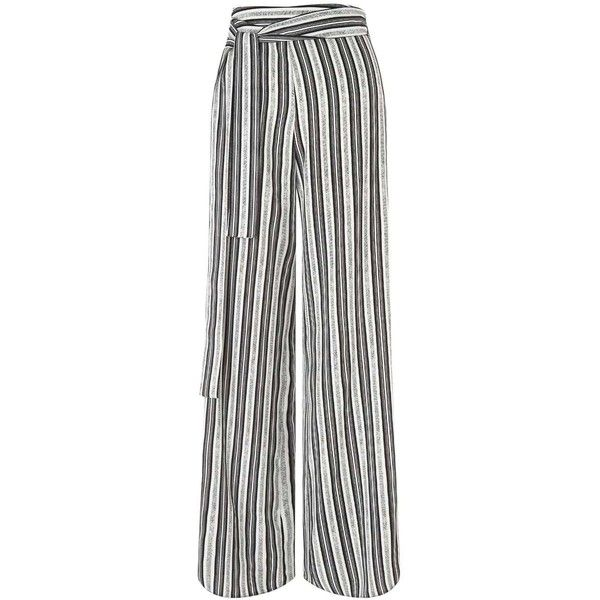 Miss Selfridge Mono Stripe Wide Leg Trouser ($61) ❤ liked on Polyvore featuring pants, assorted, wide-leg trousers, white wide leg trousers, white stripe pants, white pants and striped pants