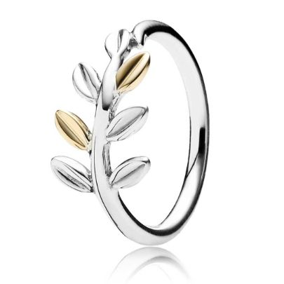 Pandora 14ct Laurel Leaves Ring 190920. Introducing the Pandora Laurel Leaves Ring from the PANDORA Autumn 2014 Collection. The elegant leaves design is crafted from quality sterling silver and 14ct Gold. The Pandora Laurel leaves ring is an excellent representation of the Autumn season.