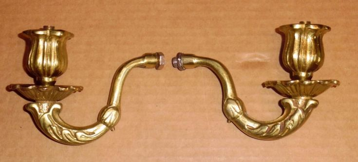 Vtg Solid Brass Wall Sconce Arms Replacement Parts Repair ... on Wall Sconce Replacement Parts id=30645