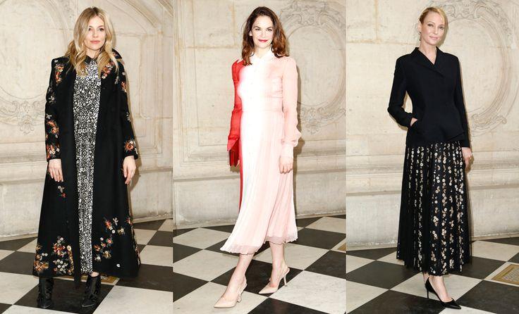 Сиенна Миллер, Рут Уилсон и Ума Турман на показе Dior осень-зима 2017