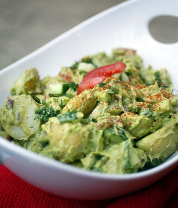 """Creamy Avocado Potato Salad......This is one of those """"why didn't I think of that?"""" recipes. I like guacamole. I love potatoes. Why didn't I ever think to put them together?"""