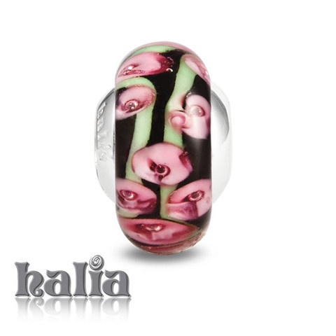 Heirloom China: Patterned rosy pinks, greens and brown murano glass bead on a sterling silver barrel: designed exclusively by Halia, this bead fits other popular bead-style charm bracelets as well. Sterling silver, hypo-allergenic and nickel free.    $36.00