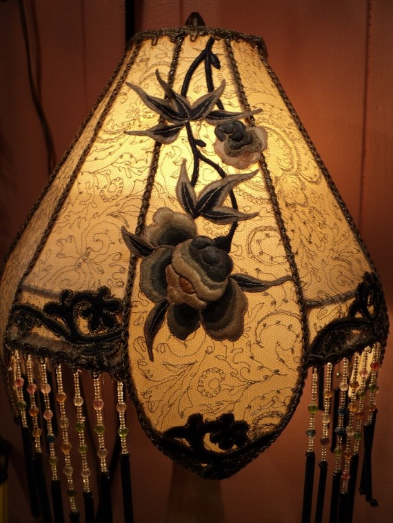 133 best lampshades images on pinterest night lamps home ideas 1920s art deco asian alabaster carved birds antique table lamp boudoir beaded one of a mozeypictures Images