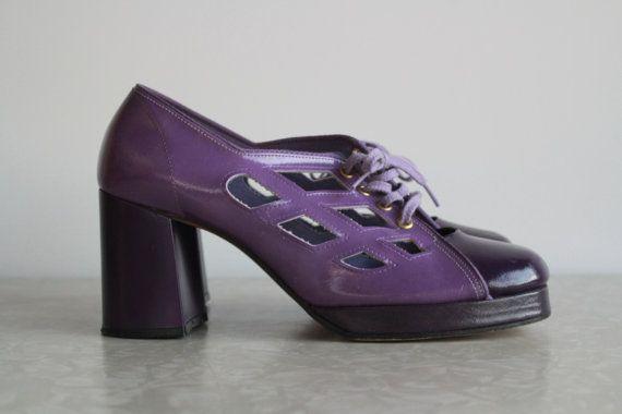 1970s Purple Platform Cut Out Shoes  Unbelievable  by VeraVague