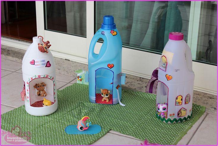 Cute houses from milk/juice bottles