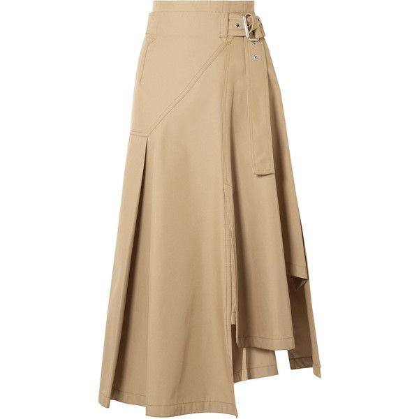 3.1 Phillip Lim Belted paneled twill midi skirt (850 470 LBP) ❤ liked on Polyvore featuring skirts, calf length skirts, twill skirt, camel skirt, brown skirt and 3.1 phillip lim skirt