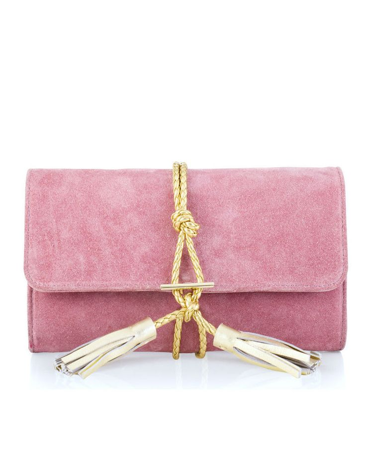 Marni Suede + Braided Leather Clutch - Dust Pink