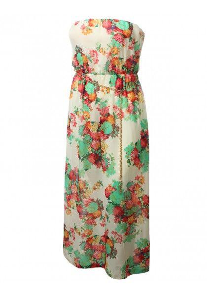Chiffon Flora Print Tube Maxi Dress With Chain Belt #jtomsonplussize