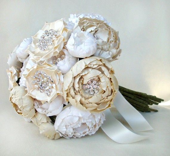 Ivory Off White And Cream Silk Catala Jeweled Bloom Bridal Bouquet Emici