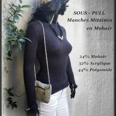 Pull taille xs mohair manches mitaines fait main en france
