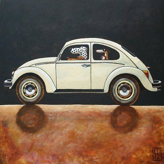 163 VW Beetle print 38x38cm/15x15 by Edart on Etsy